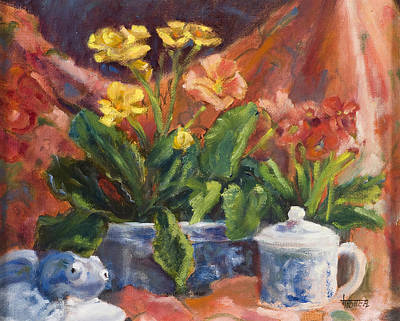 Yellow Primrose Painting - Primroses And Blue China by Jimmie Trotter