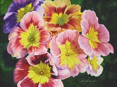 Primroses Art Print by Jan  Spangler