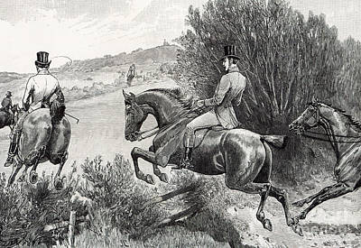 Jump Drawing - Prince Albert Hunting Near Belvoir Castle  by English School
