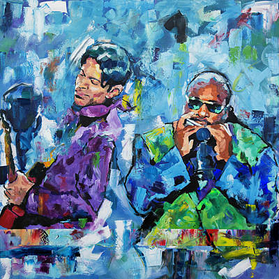 Painting - Prince And Stevie by Richard Day