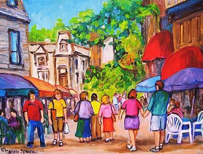 Art Print featuring the painting Prince Arthur Street Montreal by Carole Spandau