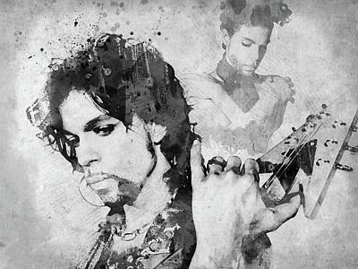 Digital Art - Prince Bw Watercolor by Mihaela Pater