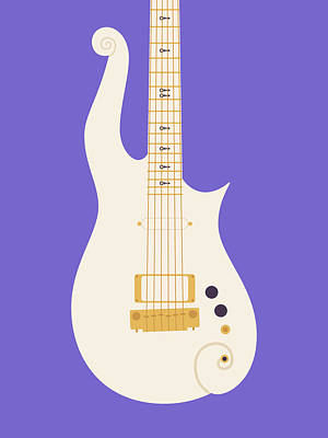 Rain Digital Art - Prince Cloud Guitar - White Purple by Ivan Krpan