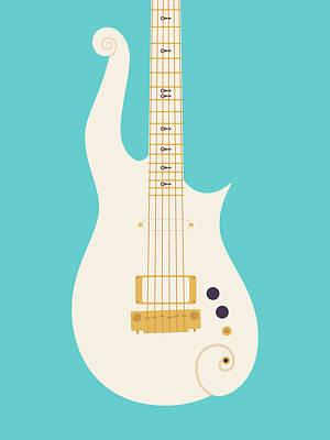 Rain Digital Art - Prince Cloud Guitar - White Teal by Ivan Krpan