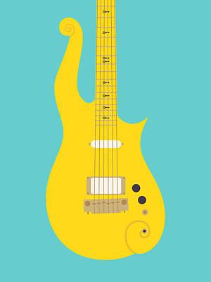 Rain Digital Art - Prince Cloud Guitar - Yellow Teal by Ivan Krpan