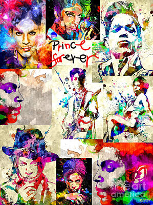 Mixed Media - Prince Forever by Daniel Janda