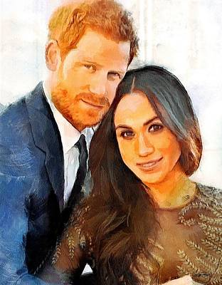 Painting - Prince Harry And Princess Meghan by Wayne Pascall