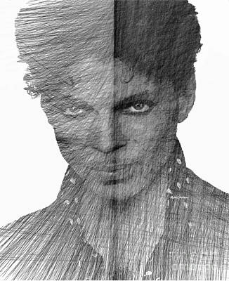 Digital Art - Prince - Immortal Tribute In Black And White Sketch  by Rafael Salazar