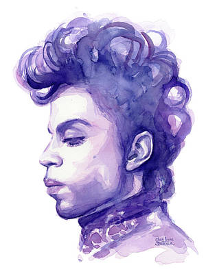 Purple Rain Painting - Prince Musician Watercolor Portrait by Olga Shvartsur