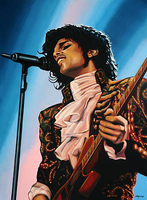Guitarist Painting - Prince Painting by Paul Meijering