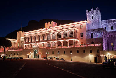 Photograph - Prince Palace Of Monaco Illuminated At Night by Artur Bogacki