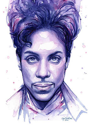 Celebrities Painting - Prince Purple Watercolor by Olga Shvartsur