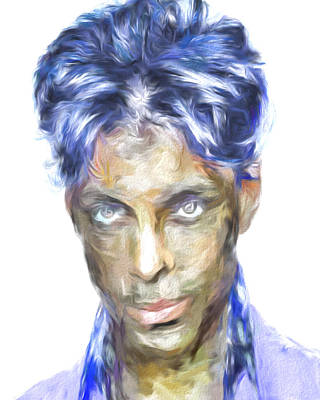 Photograph - Prince Rogers Nelson Digital Painting Portrait by David Haskett