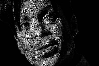 R And B Digital Art - Prince Text Portrait - Typographic Face Poster With The Recorded Album Names by Jose Elias - Sofia Pereira