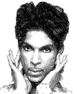 Digital Art - Prince - Tribute Sketch In Black And White 2 by Rafael Salazar