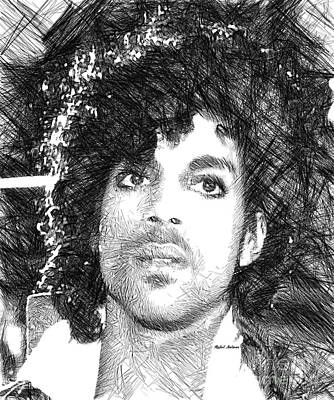 Digital Art - Prince - Tribute Sketch In Black And White 3 by Rafael Salazar