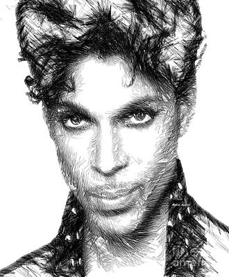 Digital Art - Prince - Tribute Sketch In Black And White by Rafael Salazar