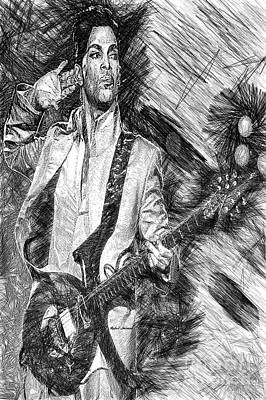 Prince - Tribute With Guitar In Black And White Art Print
