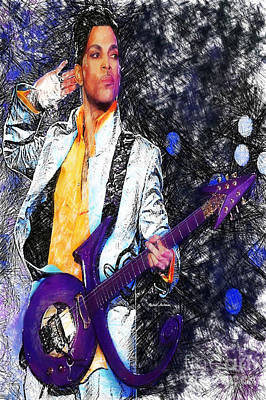Digital Art - Prince - Tribute With Guitar by Rafael Salazar