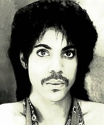 Rhythm And Blues Digital Art - Prince Watercolor Portrait by John Malone