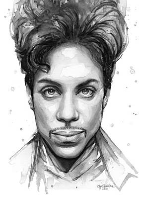 Rip Painting - Prince Watercolor Portrait by Olga Shvartsur