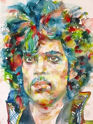 Painting - Prince - Watercolor Portrait.2 by Fabrizio Cassetta
