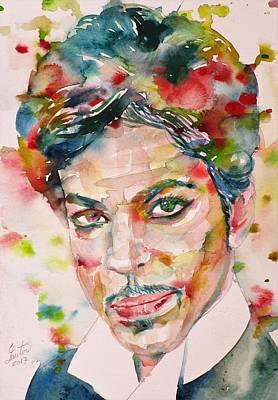 Painting - Prince - Watercolor Portrait.3 by Fabrizio Cassetta