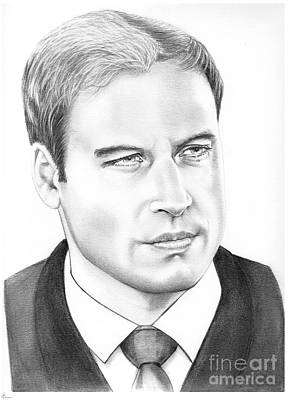 Famous People Drawing - Prince William by Murphy Elliott