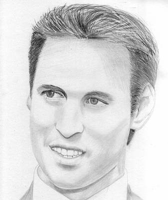 William And Kate Drawing - Prince William by Pat Moore