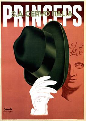 Mixed Media - Princeps - Fedora Hat - S.a.cervo Italia - Vintage Art Deco Advertising Poster by Studio Grafiikka