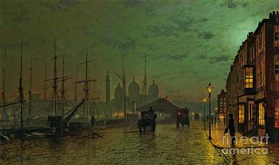 Umbrella Painting - Prince's Dock Hull by John Atkinson Grimshaw