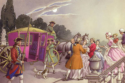 Ladies-in-waiting Painting - Princess Augusta, About To Give Birth, Was Bundled Into A Coach by Pat Nicolle