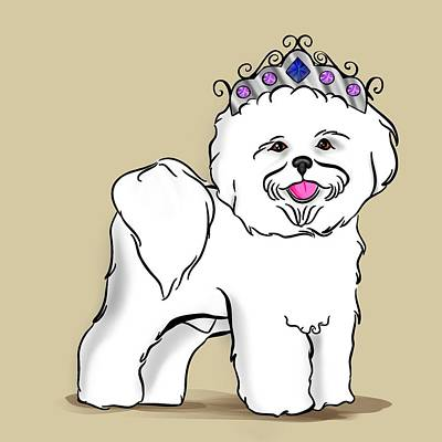 Digital Art - Princess Bichon Frise by Lisa Schwaberow