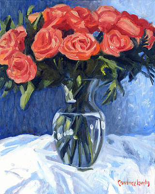 Still Life With Tangerines Painting - Princess Bouquet by Candace Lovely