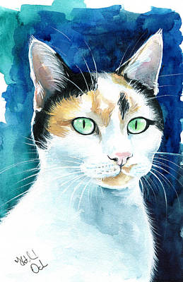 Painting - Princess - Calico Cat Portrait by Dora Hathazi Mendes