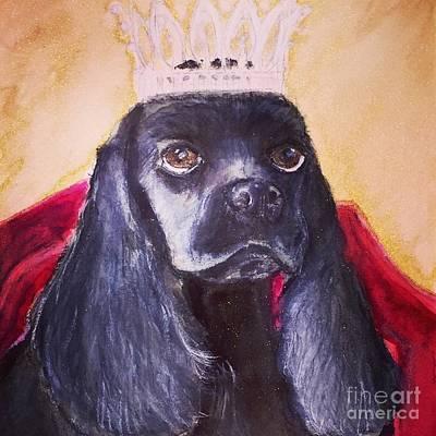 Black Cocker Spaniel Painting - Princess Dee Dee by Debra Lampert-Rudman