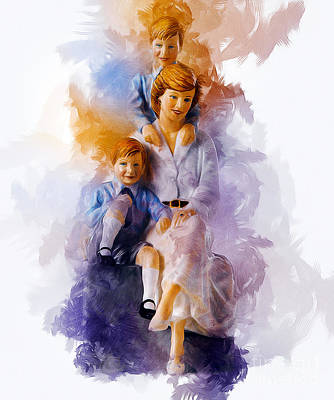 Digital Art - Princess Diana And Children by Ian Mitchell