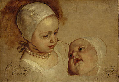 Rich Brown Frame Painting - Princess Elizabeth And Princess Anne Daughters Of Charles I by Anthony van Dyck
