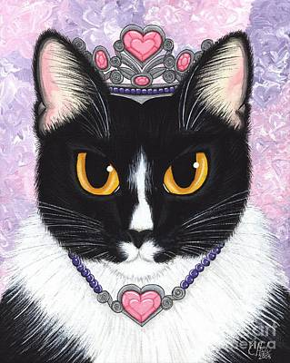 Art Print featuring the painting Princess Fiona -tuxedo Cat by Carrie Hawks
