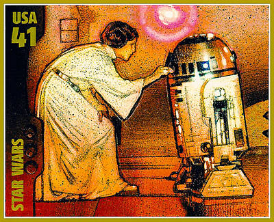 United States Postage Painting - Princess Leia And R2d2 by Lanjee Chee