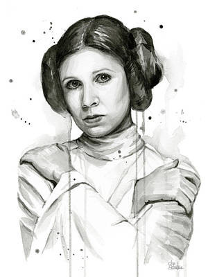 Black And White Art Painting - Princess Leia Portrait Carrie Fisher Art by Olga Shvartsur