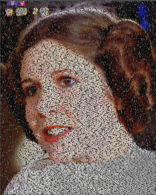 Painting - Princess Leia Quotes Mosaic by Paul Van Scott