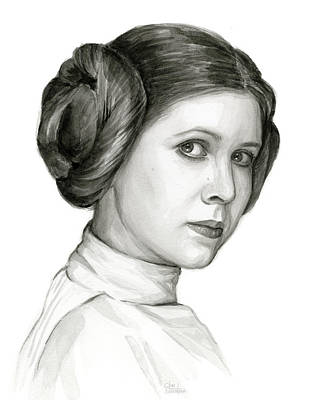Black And White Art Painting - Princess Leia Watercolor Portrait by Olga Shvartsur