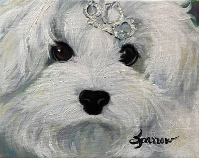Toy Maltese Painting - Princess by Mary Sparrow