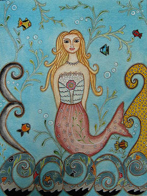 Folk Art Painting - Princess Mermaid by Rain Ririn