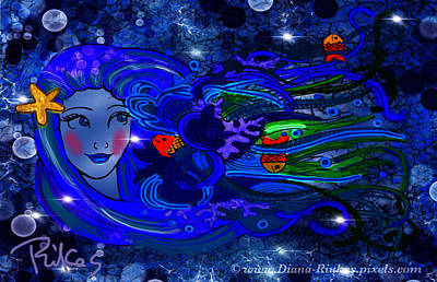 Digital Art - Princess Of The Sea-night by Diana Riukas