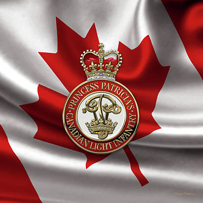 Digital Art - Princess Patricia's Canadian Light Infantry -  P P C L I  Cap Badge Over Canadian Flag by Serge Averbukh