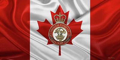 Digital Art - Princess Patricia's Canadian Light Infantry -  P P C L I  Cap Badge Over Flag by Serge Averbukh