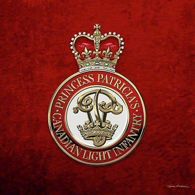 Digital Art - Princess Patricia's Canadian Light Infantry -  P P C L I  Cap Badge Over Red Velvet by Serge Averbukh