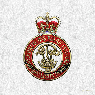 Digital Art - Princess Patricia's Canadian Light Infantry -  P P C L I  Cap Badge Over White Leather by Serge Averbukh